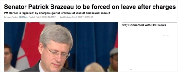 CBC Online: Brazeau charged, suspended. Harper appalled.