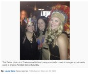 "Social media protesters crash ""Cowboys and Indians"" party 